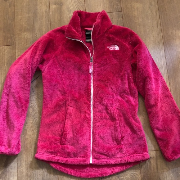 c72efe707 The North Face Girls Pink Fuzzy Coat Size M 10/12